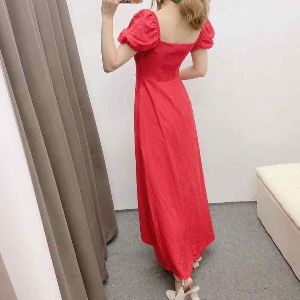 ใหม่ผู้หญิงฤดูร้อนสีแดง MIDI ชุดสั้นพัฟแขนลำลอง A-Line หลวมคอชุด Femme Robe Ropa Mujer vestidos