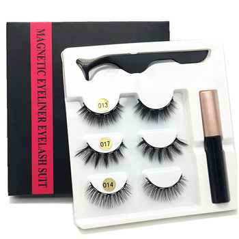 3 pairs of magnetic eyelashes, waterproof magnetic eyeliner and tweezers,  magnet mink eyelashes makeup 3D false eyelashes set недорого