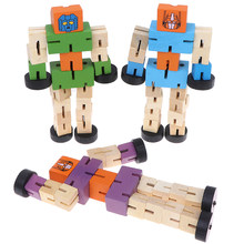1Pc Wooden Transformation Robot Kids Educational Learning Intelligence Toy(China)