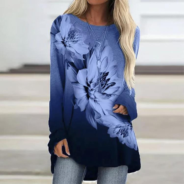 Vintage Abstract Flowers Print Women Blouse  Casual O Neck Long Sleeve Pullover 2