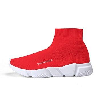 High Top Socks Shoes Woman Fly Weaving Unisex Trainers Shoes Women Slip On Sneakers Zapatillas Walking Footwears Basket Femme