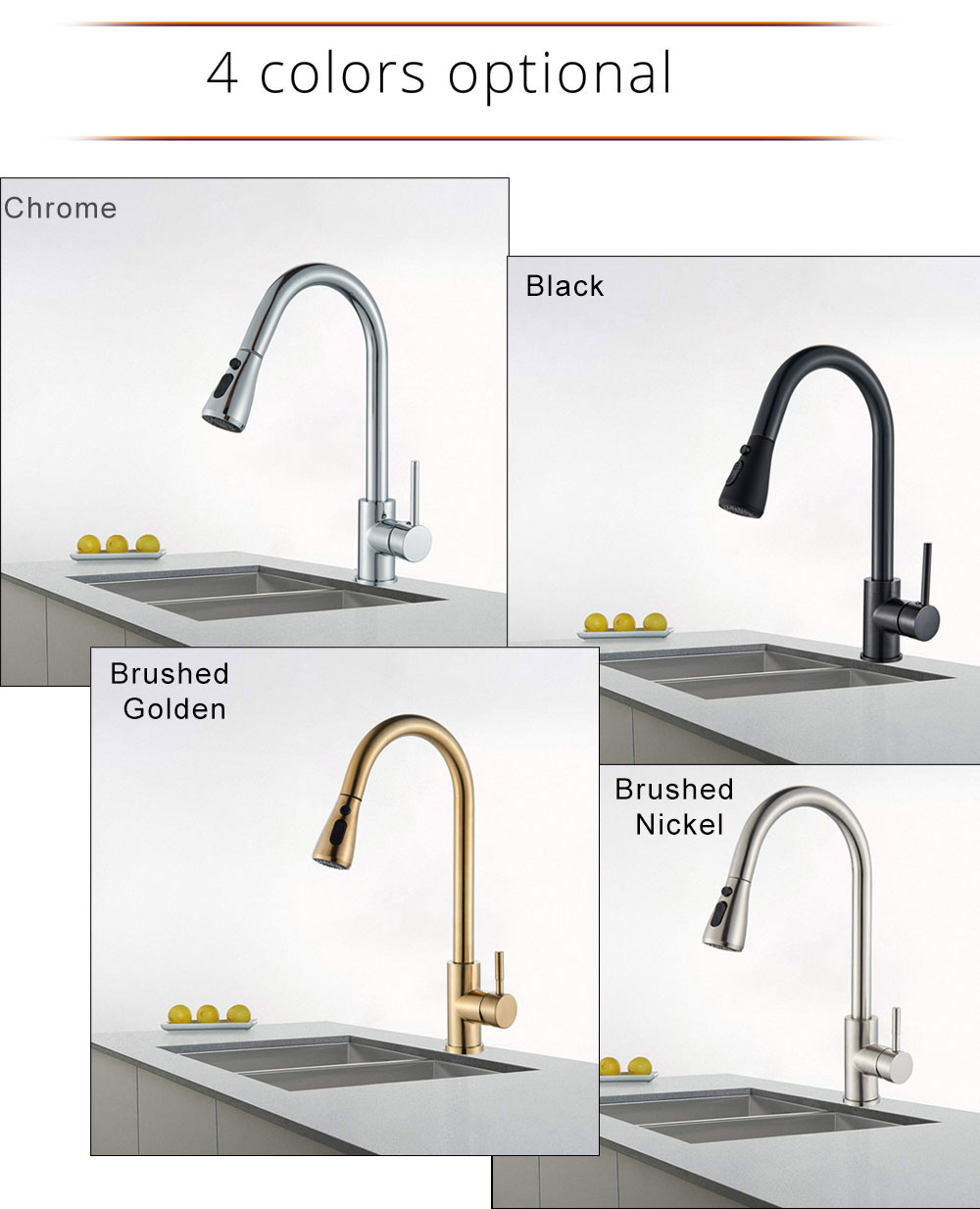 H499d12c726c741e1a6daf8acb78d1250e Rozin Brushed Nickel Kitchen Faucet Single Hole Pull Out Spout Kitchen Sink Mixer Tap Stream Sprayer Head Chrome/Black Mixer Tap