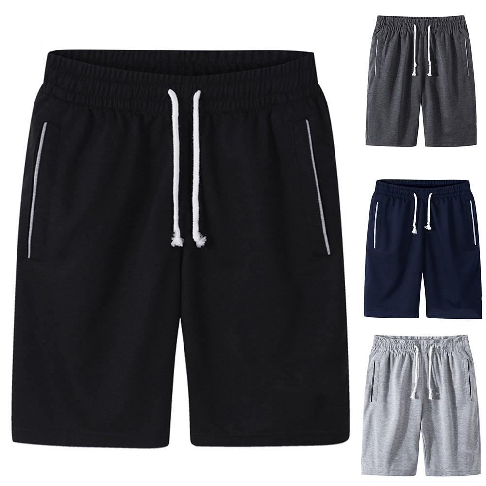 Men Summer Shorts Sports pants Men Plus Size Solid Color Drawstring Shorts Fitness Fifth Pants шорты мужские bermuda masculina