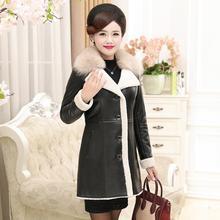 Осенне-зимняя обувь Для женщин's Кожаная куртка в длинное платье; Новинка в Корейском стиле тонкие пальто с меховым воротником из бархата и искусственной кожи Для женщин ветровка