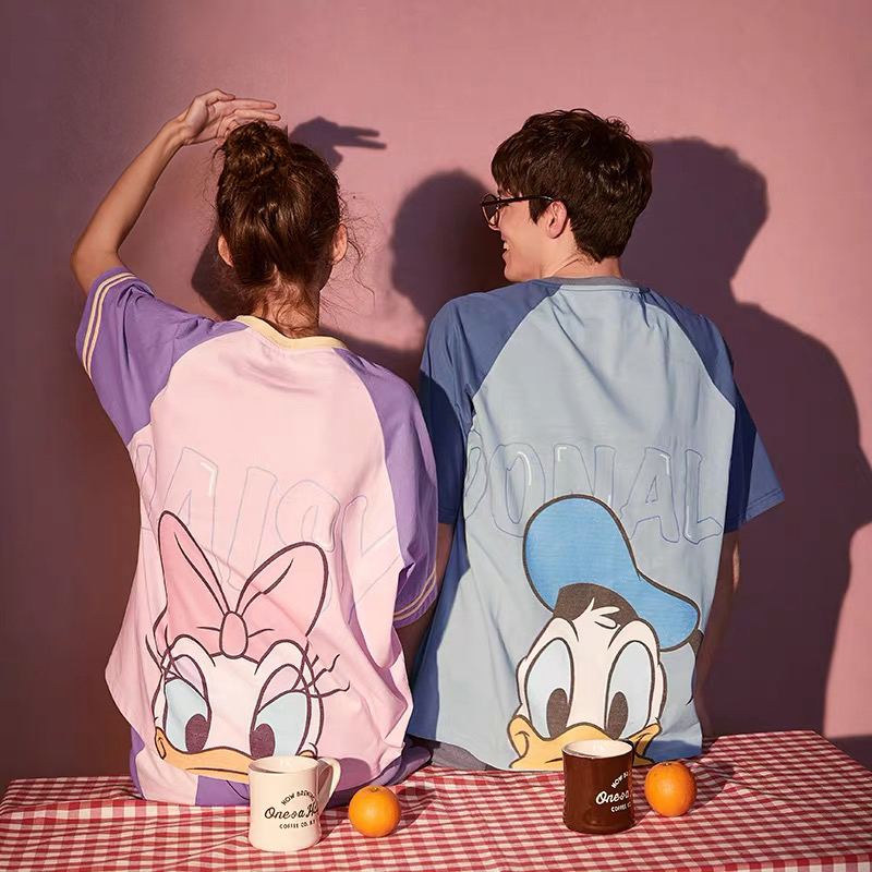 Caiyier 2020 Cotton Pajamas Set Cute Pink Mickey Print Short Sleeve Sleepwear Men Women Casual Summer Lingerie Korea Nightwear