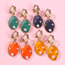 United States new fashionable resort wind geometry imitation pearl earrings contracted irregular alloy stud