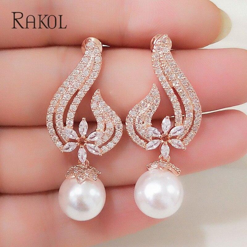 RAKOL Vintage CZ Kristall Nachahmung Perlen Herz Blume Braut Hochzeit Tropfen Ohrringe Für Frauen Rose Gold Farbe Geschenk Schmuck RE355