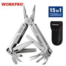 WORKPRO Multi Tool 15 in 1 포켓 툴 EDC 용 멀티 플라이어 톱 커터 스테인레스 스틸 유틸리티 툴 (Sheath Multitool 포함)