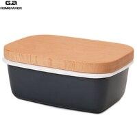 المينا زبدة صندوق طبق الفاكهة الحفاظ على صندوق تخزين حاوية زبدة جديدة مع غطاء خشبي غطاء اكسسوارات المطبخ