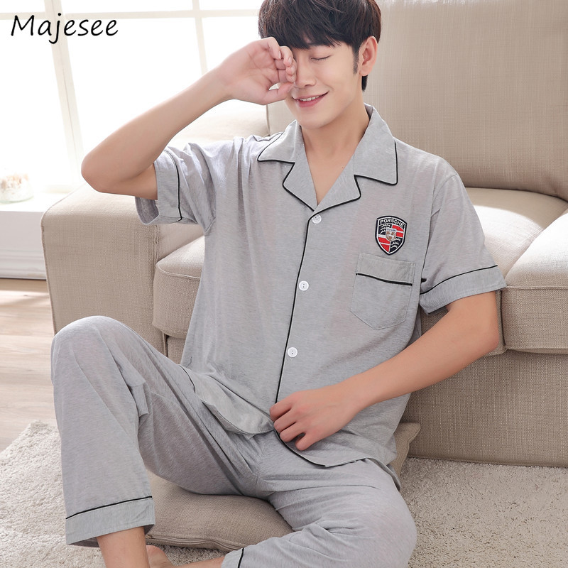Pajamas Sets Men Large Size Turn-down Collar Short Sleeve Pockets Leisure Single Breasted Simple All-match Korean Homewear Set
