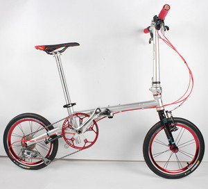 Image 2 - Fnhon FCG1609 מתקפל אופני 16 אינץ Minivelo CR MO פלדה V בלם 9 מהירות נוסע עירוני אופניים לshimano Shift רטרו פנאי BMX
