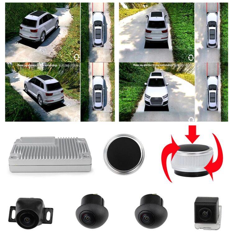 Câmera do carro 3d super surround view 360 graus olho do pássaro vista panorâmica dvr sistema 4 1080p câmeras de visão lateral com linha indicadora
