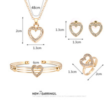 Necklac  Earrings  Ring  Bracelet  Set  European  and  American  Four-piece  Heart-shaped   Jewlery  Sets  for  Women