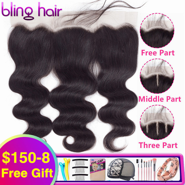 Bling Hair Body Wave 13x4 Lace Frontal Human Hair Closure with Baby Hair Free Part Brazilian Remy Hair Swiss Lace Natural Color