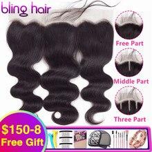 Bling Hair Body Wave mechones de pelo humano con encaje Frontal 13x4, pelo de bebé, pieza libre, pelo brasileño Remy, encaje suizo, Color Natural