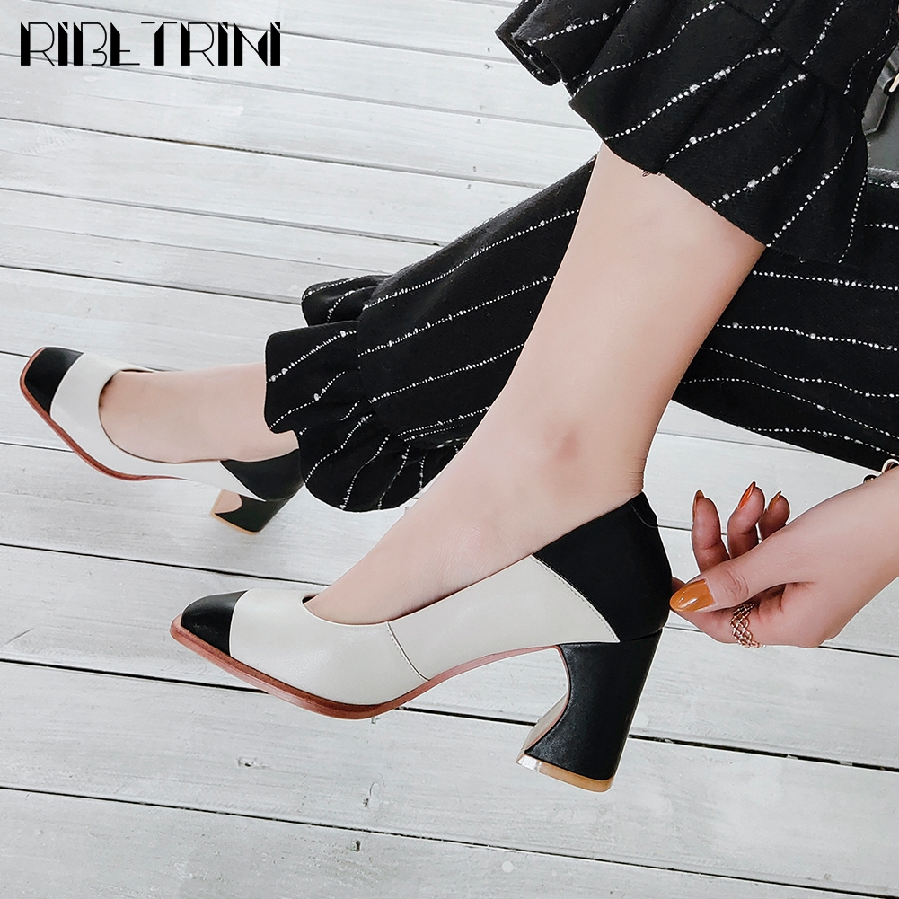 RIBETRINI New Ladies Brand mixed-color Shoes Woman Spring Office Quality Genuine Leather Pumps Women High Heels Ol Pumps