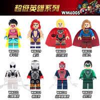 WM6005 Single Sale Super Heroes Jubilee Fierstar Red Lanterns Spider-man Iron man Building Blocks Bricks Children Gifts Toys