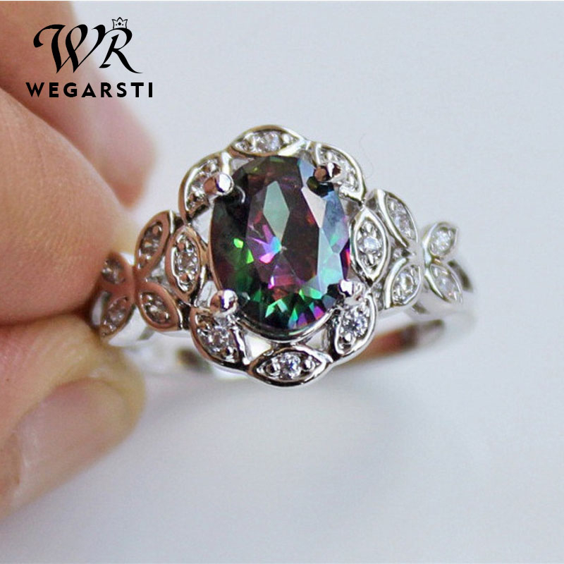 WEGERSTI 925 Silver Jewelry Seven Rainbow Zircon Ring Originality Gradual Change Color Hollow Out Butterfly Support Palmer Stone