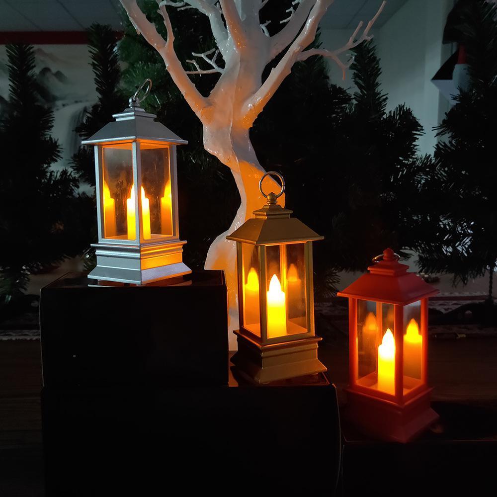 Creative Christmas LED Wind Lamp Hanging Lantern Pendant Candle Shape Night Light Party Festival Home Garden Decoration Lighting