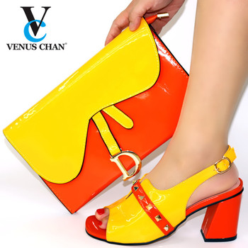 Special Design Italian Women Wedding Shoe and Bag to Match 2020 Italian Ladies Matching Shoes and Bag Set in Yellow and Red