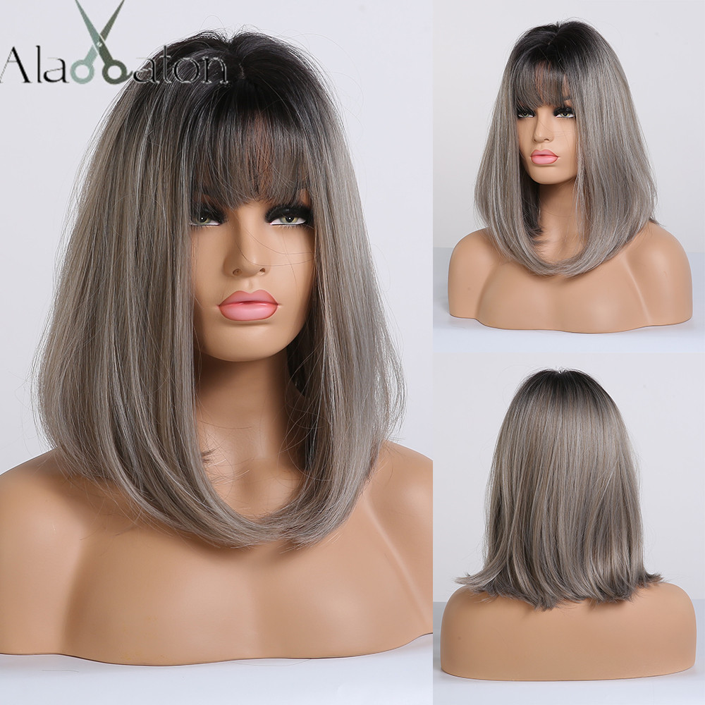 ALAN EATON Straight Short Wigs for Black Women Natural Black Ash Blonde Ombre Bobo Synthetic Wigs with Bangs Lolita Cosplay WigSynthetic None-Lace  Wigs   -