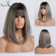 ALAN EATON Straight Short Wigs for Black Women Natural Black Ash Blonde Ombre Bobo Synthetic Wigs with Bangs Lolita Cosplay Wig