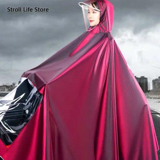 Large Size Motorcycle Raincoat Long Body Rain Cover Coat Women Rain Poncho Thick Waterproof Suit Two Person Rainwear Rain Gear