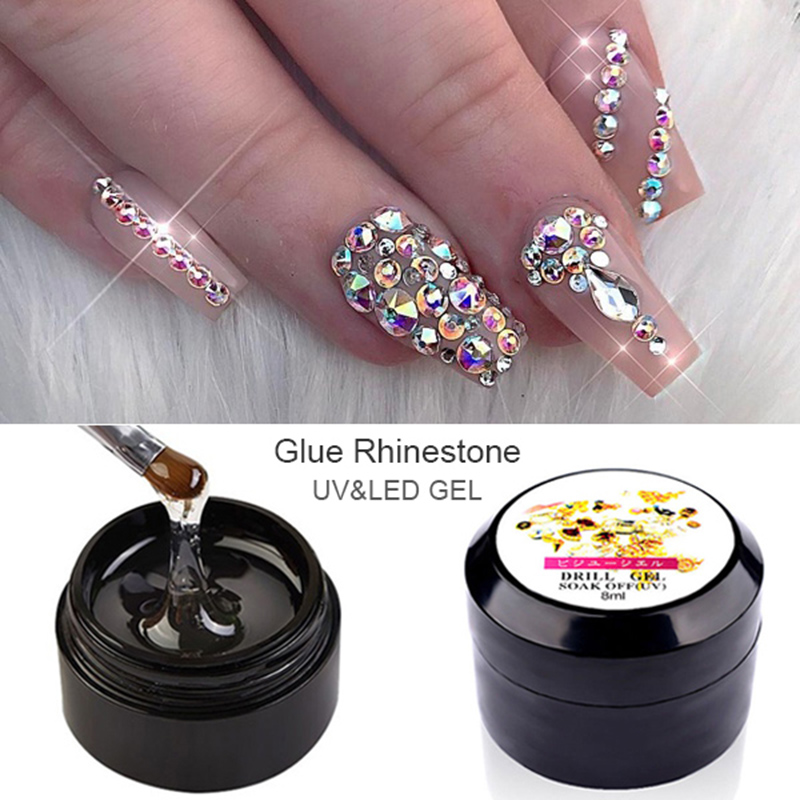 8ml Professional Super Sticky UV Gel Nail Polish Glue Crystal Adhesives Transparent Clear Gel Nails Art Rhinestone Jewelry Decor