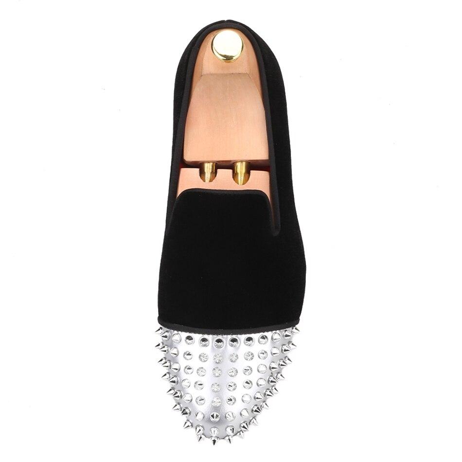 Piergitar/Мужская бархатная обувь ручной работы из лакированной кожи с заклепками, вечерние мужские повседневные лоферы, мужские тапочки для ку... - 3