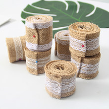 2 Meter/Roll Natural Lace Jute Roll Wedding Clothes Decoration DIY Christmas Party Supplies Hessian Burlap Ribbon For Crafts 5CM