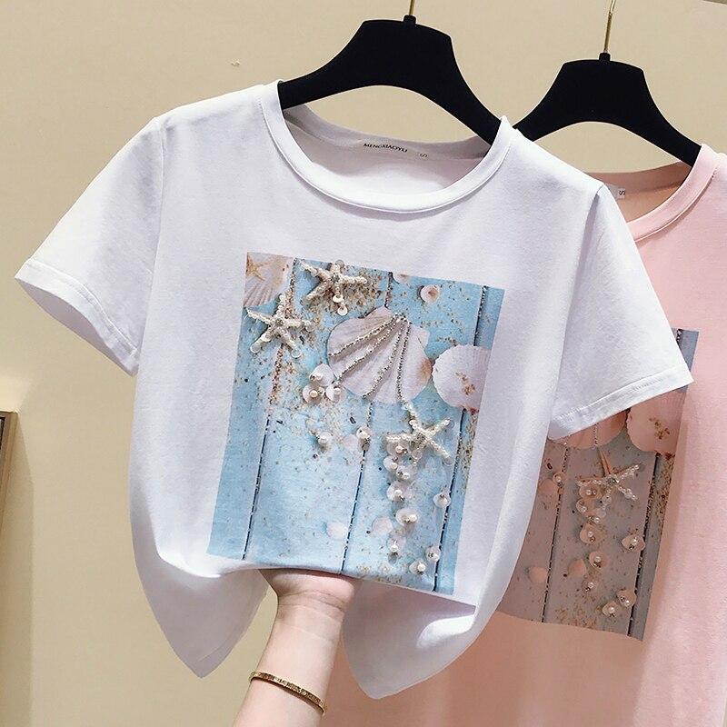 Rosa verão t camisa das mulheres topos branco tshirt mulheres coreano roupas de manga curta casual roxo lantejoulas diamante camiseta femme
