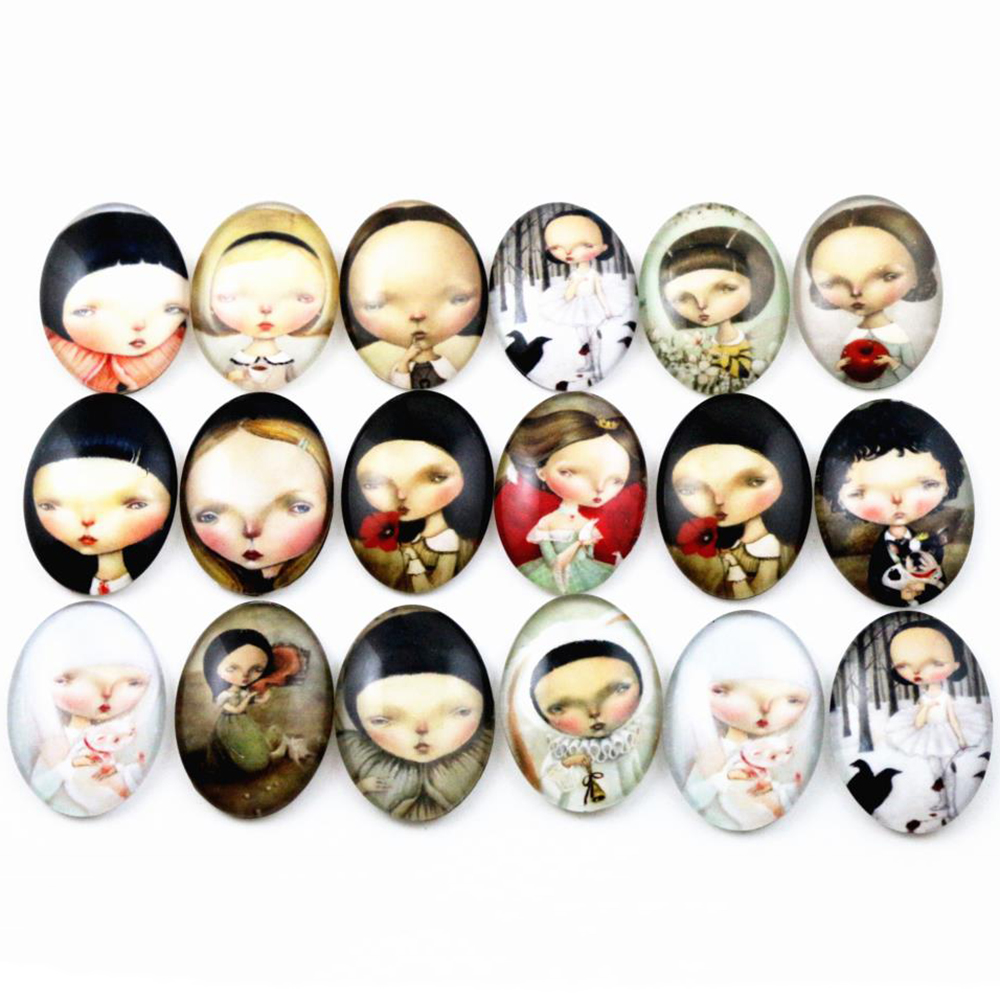 10pcs 18x25mm New Fashion Mixed Cute Handmade Photo Glass Cabochons Pattern Domed Jewelry Accessories Supplies-D6-04
