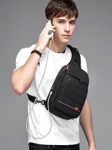 EURCOOL Chest-Bag Short Crossbody-Shoulder-Bag Water-Repellent iPad Trip Men for iPad/Usb-charging/Short/Trip