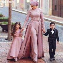 Scarf Jumpsuit Prom-Dress Evening-Dresses Dubai Arabic Long-Sleeves Muslim Pink Dark