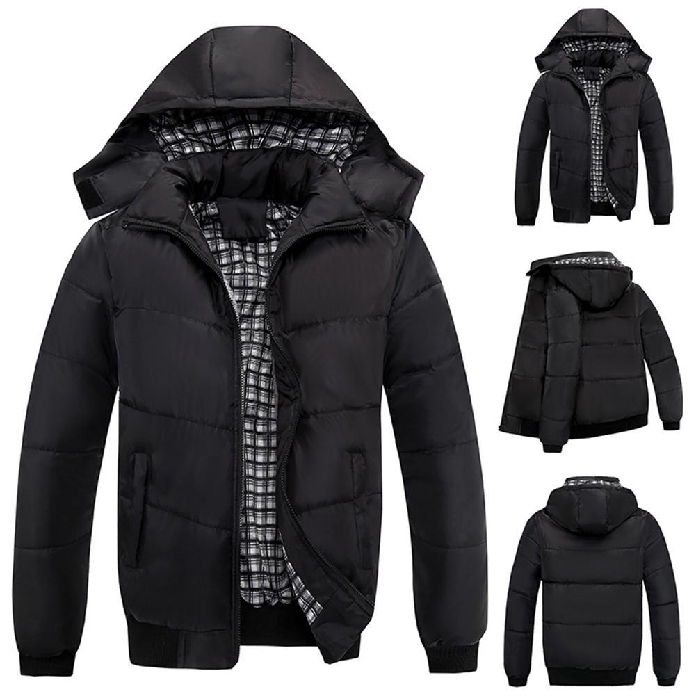 Hot Men Winter Plaid Lining Detachable Hooded Zipper Warm Cotton Padded Coat Jacket Top