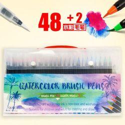 Artystyczny obraz akwarela pędzelek do zdobień s zestaw 50-żywe markery z Bonus 2 pędzel wodny pędzelek do zdobień-48 kolory elastyczny Nylon porady