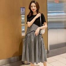 7016 #2021 летняя корейская мода для беременных длинное платье
