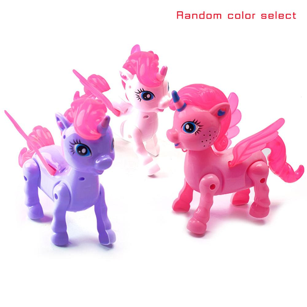 2019 Electronic Flashing Music Unicorn Pet Toys LED Light Funny Walking Robot Unicorns Toy With Rope Doll For Kids Gifts Girls