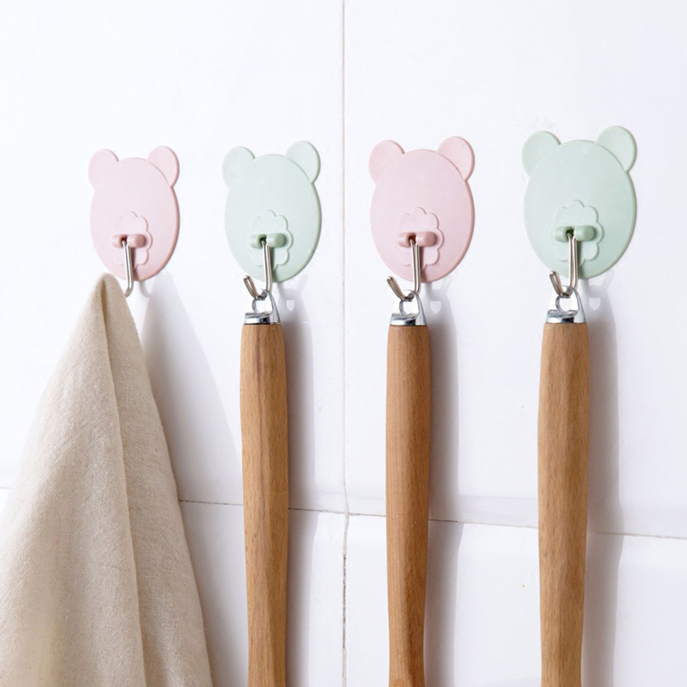 Adhesive Hook Door Wall Hangers Hooks Cartoon Bear Sticky Seamless Hooks For Storage Hanging Kitchen Magic Bathroom Accessories