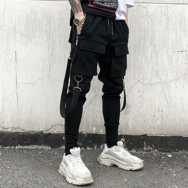 Hip Hop Joggers Mens Black Harem Pants Multi Pocket Ribbons Mens Sports Pants Streetwear Cargo Pants Men Japanese Streetwear