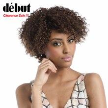 Дебютные афро кудрявые цветные человеческие волосы парики для женщин Дешевые Бразильские короткие Боб Remy человеческие волосы парики
