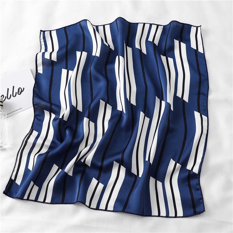 2020 Baru Wanita Syal Sutra Square Foulard Leher Wanita Rambut Syal Desain Dicetak Kepala Tudung Fashion Gadis Rambut Syal