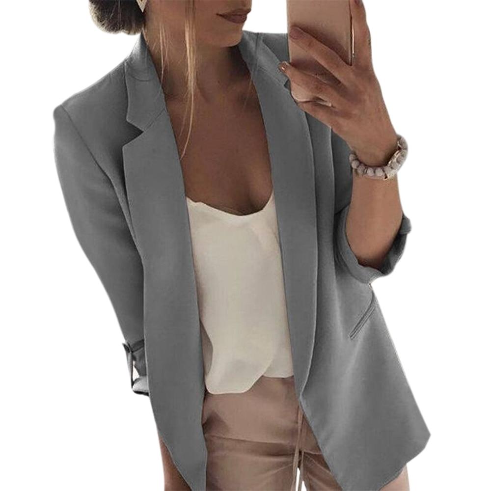 OEAK 2019 Fashion Women Casual Suit Coat Business Blazer Long Sleeve Jacket Outwear Ladies Black Pink Slim Blazer Coat