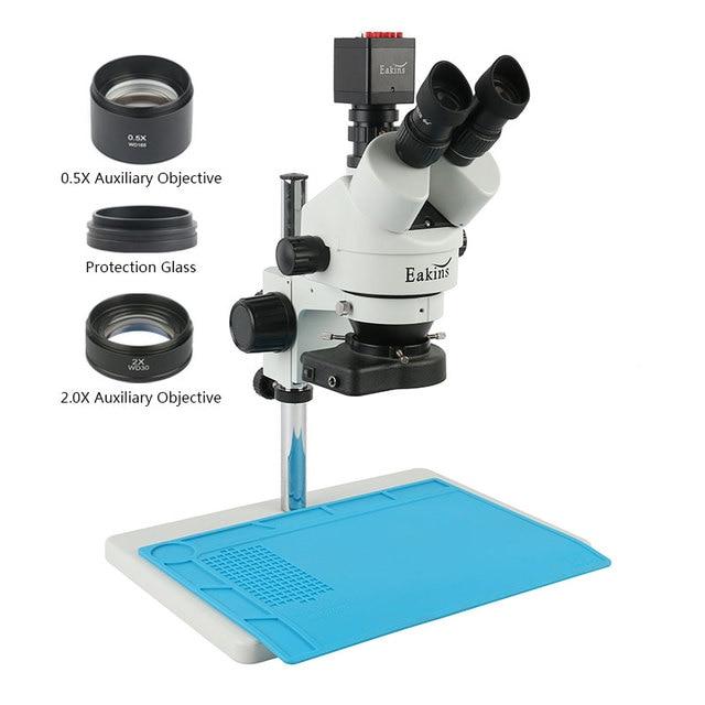 7 45X 3.5X 90X Microscope stéréo trinoculaire simul focal SONY IMX307 VGA HDMI caméra 1080P 13MP pour téléphone PCB soudure réparation