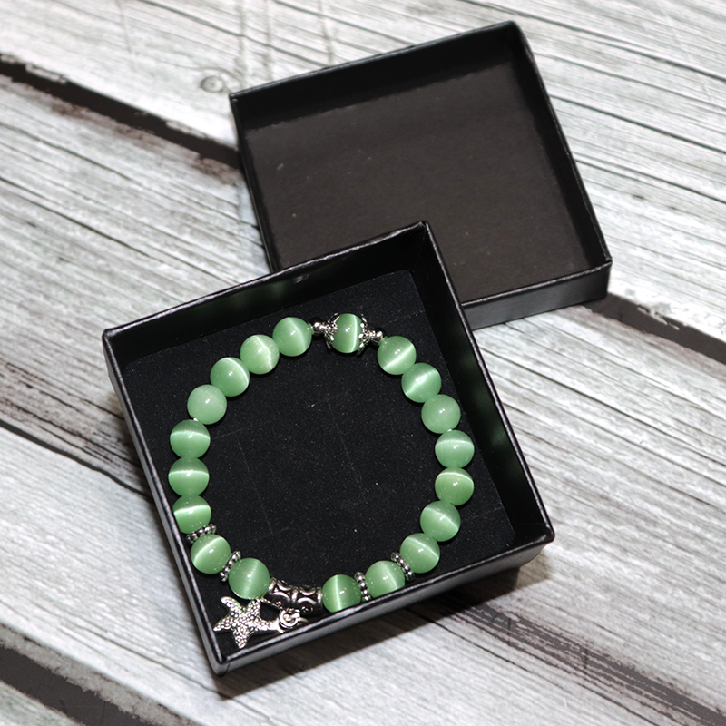 New Arrival Women Opal Bracelet Natural Stone 5 Colors Smooth Cats Eye Beads Braslet Cute Starfish Pendant Braclet Jewelry Gift