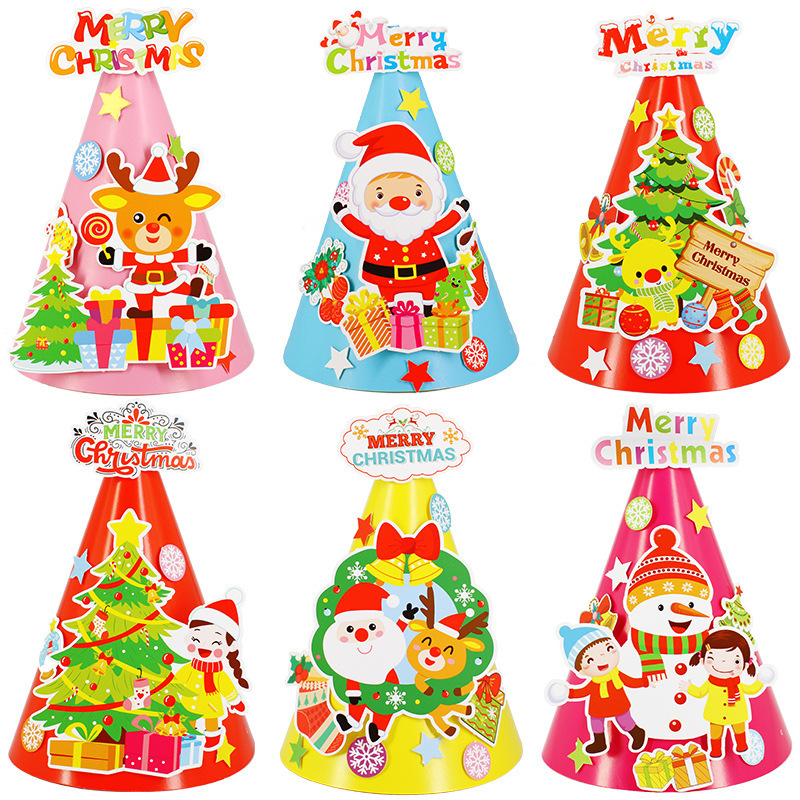 Diy Christmas Paper Capa-citor Hats Ornament Children Cartoon Tip Hats Kindergarten Manual Make Material Science Package 2019