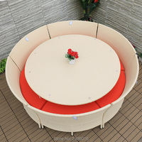 7 pcs Outdoor Rattan Garden Dining Sets Outdoor Wicker Coffee Table and Sectional table and chairs with Sand Cushions
