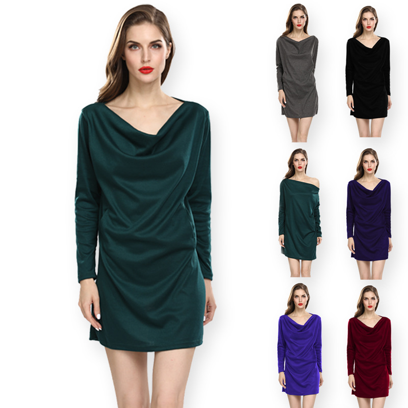 <font><b>EBay</b></font> Amazon Wish Cross Border Europe And America WOMEN'S Dress Hot Selling Solid Color Cotton Loose-Fit Crew Neck Pocket Long-sl image