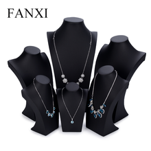 Oirlv Black PU Leather Jewelry Display Stand Mannequin Model Necklace/Pendant Bust Holder Jewelry Expositor  Showcase