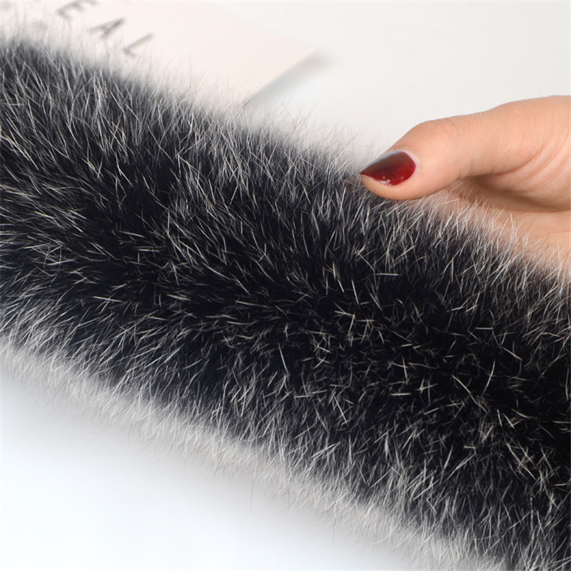 Real 100% Natural Real Fox Fur Collar Women Scarf Winter Coat Neck Cap Long Warm Genuine Real Fur Dress Accessories 75cm Longth